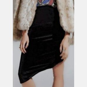 Velvet Crush Skirt Black A-Line High/ Low Waist